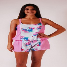L.BOLT Floral Girly Overall Strawberry Pink